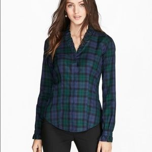 Brooks Brother Ruffled V-neck Button Down   8